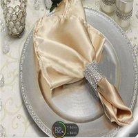 dinner napkin - 100 Champagne Light Gold Satin Table Dinner Napkin Square Pocket Handkerchiefs Wedding Napkin