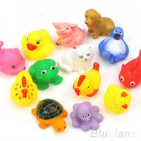 Wholesale 13Pcs Cute Soft Rubber Float Sqeeze Sound Baby Wash Bath Toys Play Animals Toys ORA YBW