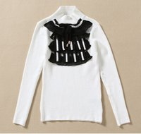 Wholesale Warm Winter Crochet Big Girls Lace Bowknot Collar Pullover Knitted Sweaters Elastic Sweater Shirts Kids Child Clothing Black White K2718