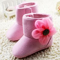 baby first products - 2015 Winter New Products Snow Boots For Toddler Pink Big Flowers Baby Girls Princess Shoes Soft soled Infant First Walker Shoes K612