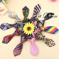 Wholesale Hot Selling Mix Color Polyester Silk Pet Dog Necktie Adjustable Handsome Bow Tie Pet Collar Cute Gift