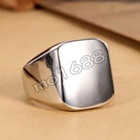 Wholesale Fashion Silver Smooth Polished Mens L Stainless Steel Ring Size