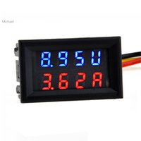 Wholesale New DC V A Dual LED Digital Voltmeter Ammeter Voltage AMP Power Panel Meter Red Blue