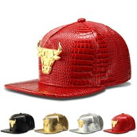Wholesale Alligator Patter PU Leather Adjustable Alloy Bulls Tauren Logo Baseball Cap HipHop Hat Peaked Sunhat Snapback Caps Hipsters Cap FreeShipping