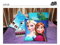 Wholesale frozen Pillows colors cartoon cushion cover frozen moive Printed suede pillow cover
