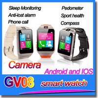 Wholesale Wireless Bluetooth Smart Watch Phone GV08 Wristwatch Camera Smartwatch Sync Call SMS for Android Samsung LG HTC SONY