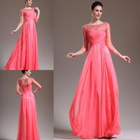 Wholesale Long Sleeves Hollow Out Evening Dresses Long Sleeves Scoop Neck Ruched Floor Length A Line Beads Chiffon Evening Dress Mother Of Bride Gowns