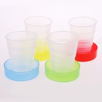 Wholesale Portable Plastic Cup Retractable Folding Cup Telescopic Collapsible Outdoor Sports Camping Trave Mug Green Red Yellow Blue Colors pc