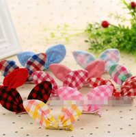 Barrettes Cotton Striped SALE! Rabbit Ear Styling Hair Bows Toddler Girl Hair Clip Tartan Check Pattern Colorful Hair Accessories Bunny Ear Barrette Clips Wear 10PCS
