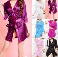 ladies silk pajamas - Sexy Women Ladies Open Front Lingerie Set Underwear Robe Pajamas Silk Lace Kimono Bathrobe Nightgown Lingerie Sleepwear Nightwear