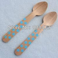 Wholesale Customized Polka Dot Disposable Natural Wooden Spoon cm Green Blue Red Disposable Party Wooden cutlery catering XMAS