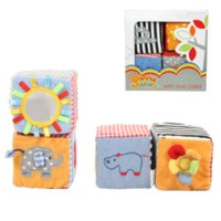 Wholesale pack soft play cubes multi purpose cloth blocks digital letters animal nature learning rattles