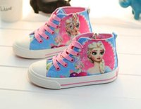 Wholesale 2015 froze New Elsa and Seven princess princess graffiti canvas shoes women girl lace up sneakers Cartoon canvas shoes