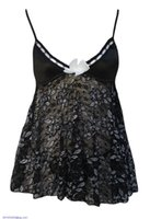 Wholesale New Sexy Women Clothing Chemise Sexy Lace Babydoll with Front Bow Silver Flower Sexy Lingeries LC21220