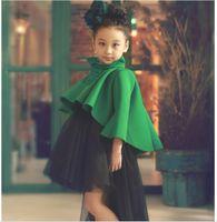 animal cloak - Fashion Clothing Set Performance Photograph Wear Headband Girls Cloak Dress Outfits Kids Clothes Grid Outwear Skirt Suit KB277