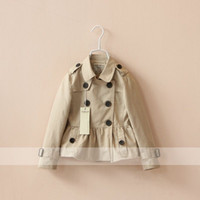 Wholesale New Spring Autumn Baby Girls Trench Solid Double Breasted Collared Girls Outerwears Coats Kids