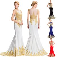 Wholesale Grace Karin Sleeveless Golden Appliques Long Sheath Evening Dress Sheer Neck Illusion Back Ball Gown Evening Prom Party Dress GK000026