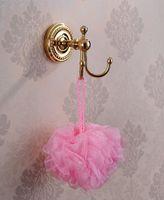 antique brass coat hooks - Antique Brass Dual Hook Bathroom Towel Hanger Home coat hat Hanger Wall Mounted coat Rack cabide bathroom accessories HJ K
