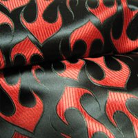 fabric - Red Flame fresh cool black brocade fabric silk satin fabric cheongsam kimono doll clothes cos necessary