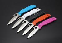 pocket folder - Spyderco Endura Knife Emerson Opener FRN Folder Satin Single edge Plain C10PGYW EDC tactical knife pocket knife knives with retail box
