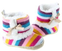 Wholesale 2015 the foreign trade Lovely rainbow knitted winter warm baby baby boots shoes for