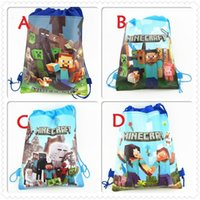 Wholesale 50pcs HOT ITEM Minecraft Storage bag Minecraft Drawstring bags Non woven shopping bag Cartoon Backpack Creeper Draw String Sling Gift Bag