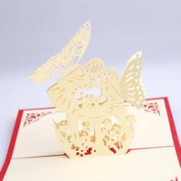 Wholesale 3D Angell kiss Greeting Cards new year Blessing Cards with envelope