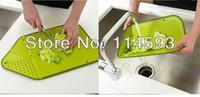 Wholesale 50pcs Multi Functional Kitchen Folding Colander Chopping Cutting Board Green