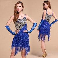 ballroom tango dress - Latin Salsa Tango Cha cha Ballroom Competition Sequined Tassels Dance Dress Colors