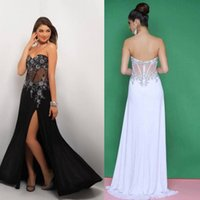 chiffon pageant gowns - 2015 Amazing Black White Chiffon A Line Beaded Long Prom Dress Evening Formal Party Gowns Sweetheart High Split Pageant Dress