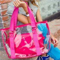 plastic tote - 2015 color women lady fashion cool letters one shoulder jelly bag plastic candy bag crystal beach bag in bag handbag totes TOPB2522