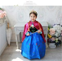 Wholesale retail new cosplay Frozen dress stage costume Anna dress girls dresses with red cloak Anna kids child baby clothing