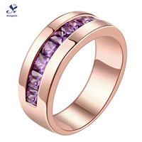 amethyst ring solid gold - solid silver Ring rose gold plated amethyst purple CZ lab diamond birth stone color optional lady ring