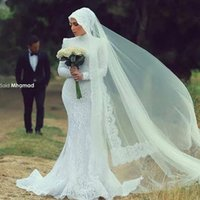 mid dress - 2015 Arabic Spring Mermaid Muslim Wedding Dresses White Floral Lace Covered High Neck Long Sleeve Gorgeous Amazing Mid east Bridal Gown