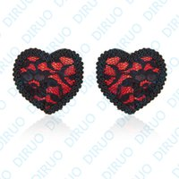 adhesive body jewelry - Body jewelry nipple ring Lace Heart Adhesive nipple stickers Covers sexy breast fashion jewelry bra Disposable Milk Paste Anti