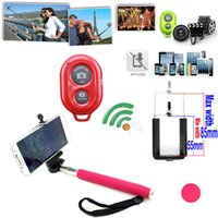 Wholesale 30 off New in1 Extendable Handheld Self portrait Monopod Bluetooth remote Shutter cellphone Holder for IOS Android iPhone Samsung