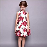 vintage style - 2015 Summer Spring New Collection Children Round Neck Sleeveless Rose Printed Vintage Children Ball Gown Dresses Western Style Dresses