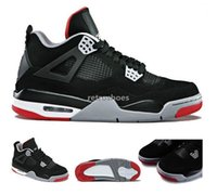Wholesale IV Bred basketball shoes Black Cement Grey Fire Red good quality Men Sports Shoes cheap sneakers online size
