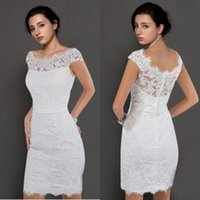 Wholesale Simple Short Jewel Neckline Sheath Wedding Dresses Summer Beach Lace Short Sleeves Beaded Knee Length Cheap Bridal Dress Gowns Hot Sale