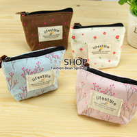 Wholesale Ladies canvas print small coin purse key wallet sweet garden flowers canvas bag Coin keychain keys wallet Purse hot sale