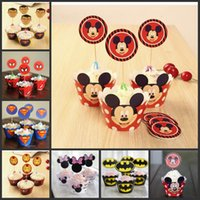 Wholesale Party Decorations Event Cupcake Wrappers Mickey Mouse Superman Batman CupCake Toppers Picks Kids Birthday Supplies Party Favors