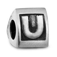animal letter u - 100 Sterling Silver Beads Fit Pandora Charms Bracelet DIY Brand Fashion Jewelry Scroll Alphabet U
