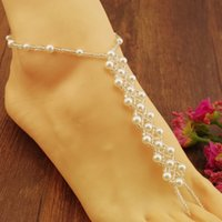 Wholesale New Barefoot Beach Sandals Bridal wedding pearl jewelry Anklet Foot Jewellery Jewelry anklets ring