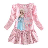 Wholesale Newest Frozen Elsa Anna cartoon dress Girls long sleeve dresses princess cotton cartoon dress children spring autumn dress kids dresses