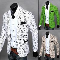 Wholesale 2016 New casual Floral Oracle print blazer men Slim Fit Jacket Men Solid cut Cotton blaser masculina traje hombre