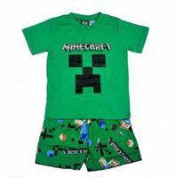 Em estoque crianças envio gratuito de roupas define Mina Craft Minecraft menino meninos curtas top de mangas + calças pijama pijama sleepwear conjunto