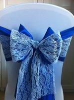satin chair sash - 2015 Fascinating Blue Lace Bow Ribbon Ruffle Satin Chair Sash Chair Covers Wedding Decorations Wedding Accessories