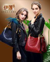 Cheap 2015 hot sale new crocodile grain women handbag inclined shoulder bag handbag  Order big bag for free small bag gift