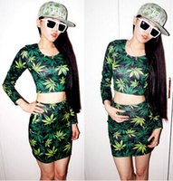 Wholesale New Printing Maple Leaf Long Sleeve Crop Top T shirt Maple Leaf Package Buttocks Short Skirt