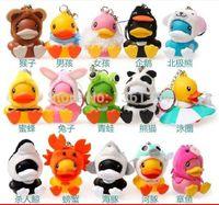 Cheap 15 PCS lot b.duck Rubber Duck 4cm Animal clothes keychain phone rope PVC Action Figures Dolls kids Toys 0501#